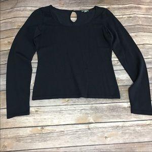 Ann Taylor silk navy Blue Long sleeve blouse